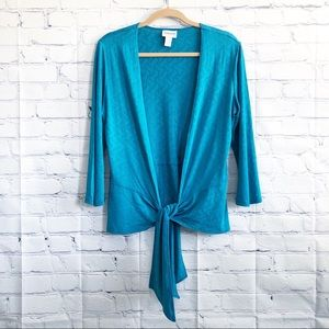 Chico's Travelers Teal Pattern Tie Front Cardigan